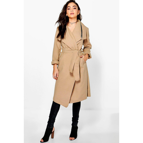 BOOHOO Aaliyah Zip Shawl Collar Coat - Wrap up in the latest coats and jackets and get out-there...