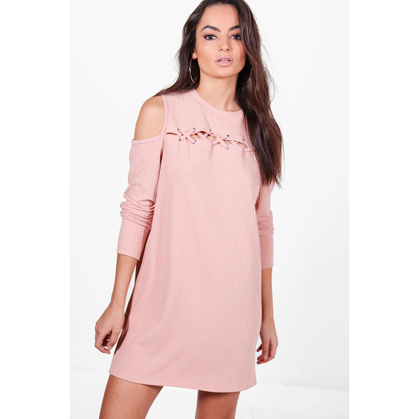 BOOHOO Abbey Lace Up Cold Shoulder Rib Knit Dress - Nail new season knitwear in the jumpers and cardigans that...