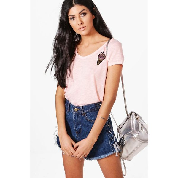 BOOHOO Abbie Retro Sequin Badge Tee - Steal the style top spot in a statement separate from the...