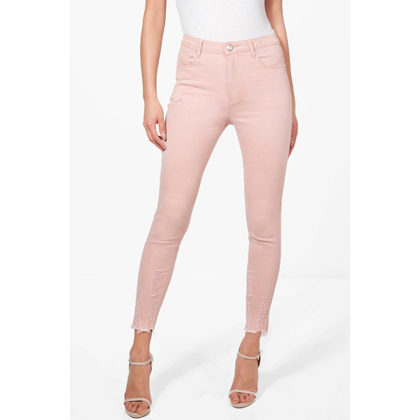 BOOHOO Abby High Waist Destroyed Hem Skinny Jeans - Jeans are the genius wear-with-anything wardrobe...