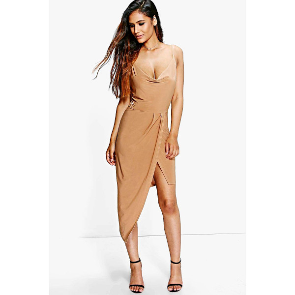 BOOHOO Abi Slinky Cowl Wrap Detail Midi Dress - Dresses are the most-wanted wardrobe item for day-to-night...
