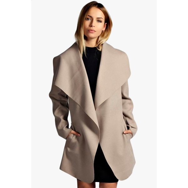 BOOHOO Abigail Belted Waterfall Coat - Wrap up warm in the latest wool look outerwear. A stylish...