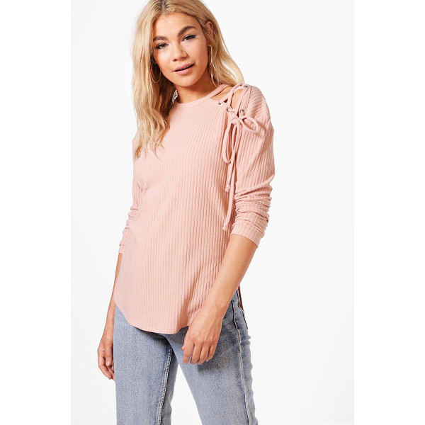 BOOHOO Abigail Lace Up Shoulder Rib Knit Jumper - Nail new season knitwear in the jumpers and cardigans that...