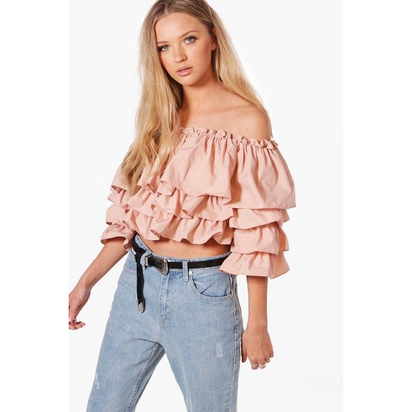 BOOHOO Abigail Off The Shoulder Ruffle Top - Steal the style top spot in a statement separate from the...