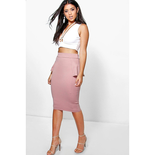 BOOHOO Adaira Peplum Panelled Midi Skirt - Party with your pins out in a statement evening skirtSteal...