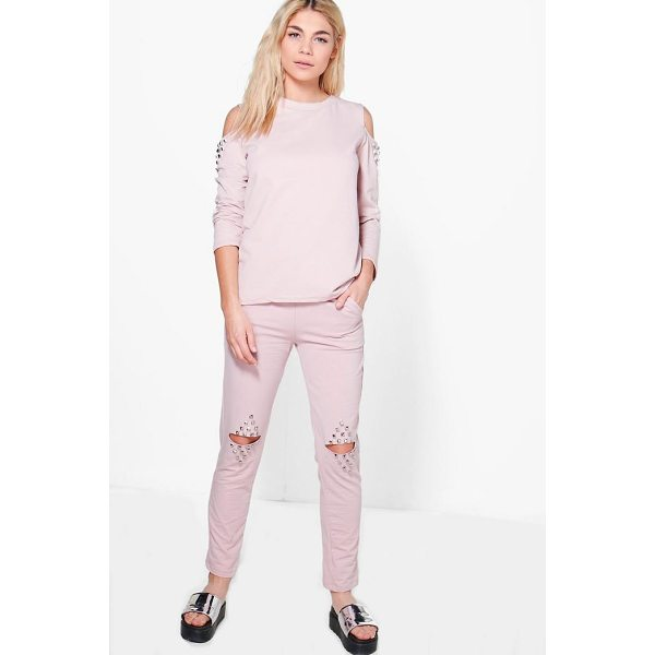 BOOHOO Adaline Split Knee Stud Detail Sweat Joggers - Trousers are a more sophisticated alternative to...