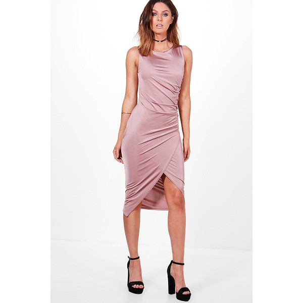 BOOHOO Addie Slinky Ruched Detail Midi Dress - Dresses are the most-wanted wardrobe item for day-to-night...