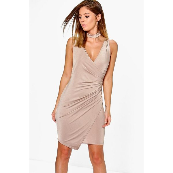 BOOHOO Adria Drape Slinky Tie Neck Detail Bodycon Dress - Dresses are the most-wanted wardrobe item for day-to-night...