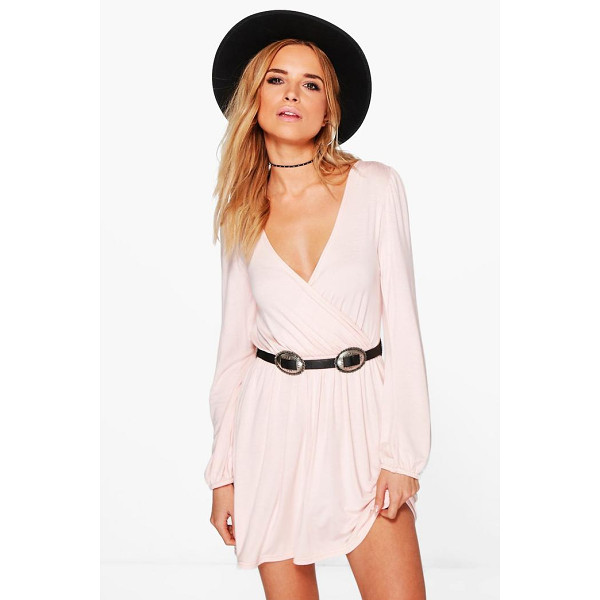 BOOHOO Adriana Jersey Long Sleeve Wrap Dress - Stylish and effortless—wrap dresses are the perfect party...