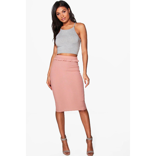BOOHOO Adrianna Ribbed Ruffle Detail Midi Skirt - Skirts are the statement separate in every wardrobe This...