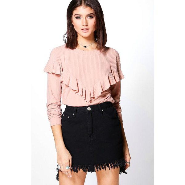 BOOHOO Adrianna Soft Rib Frill Front Top - Steal the style top spot in a statement separate from the...