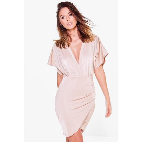 BOOHOO Afia Slinky Plunge Wrap Bodycon Dress - Dresses are the most-wanted wardrobe item for day-to-night...
