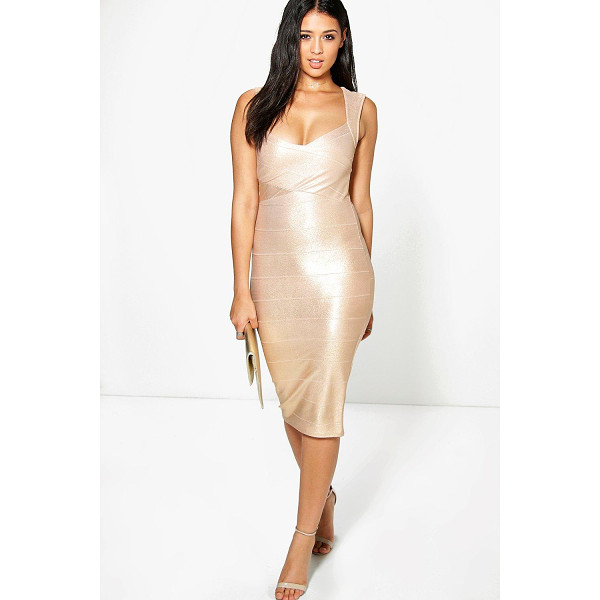 BOOHOO Agatha Metallic Detail Bandage Midi Dress - Dresses are the most-wanted wardrobe item for day-to-night...