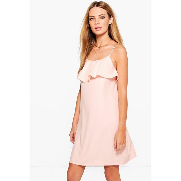 BOOHOO Ahlai Woven Strappy Ruffle Frill Slip Dress - Dresses are the most-wanted wardrobe item for day-to-night...