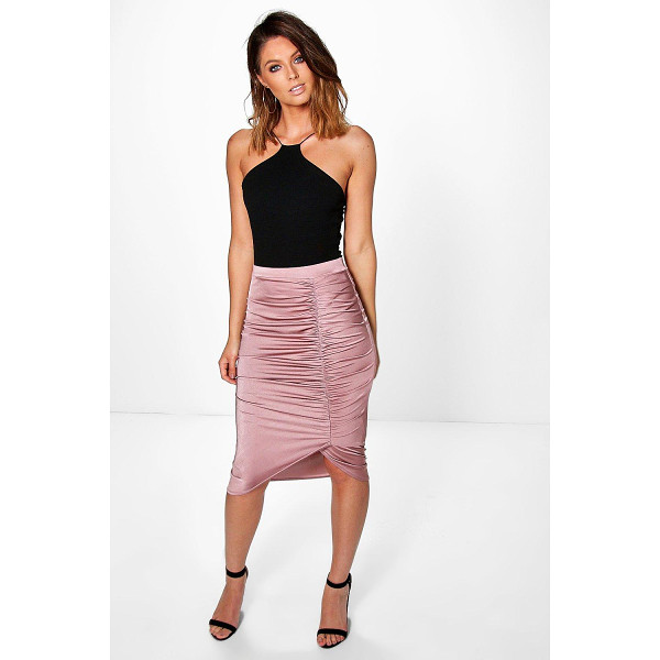 BOOHOO Ailani Rouched Side Slinky Midi Skirt - Party with your pins out in a statement evening skirtSteal...