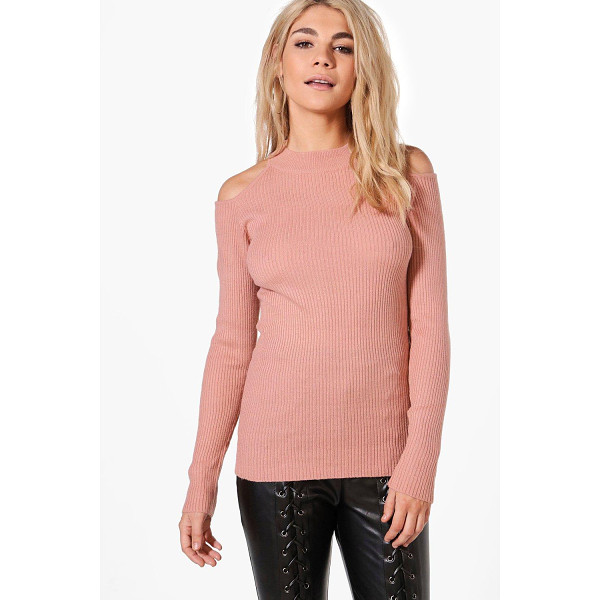 BOOHOO Aimee Cold Shoulder Rib Jumper - Nail new season knitwear in the jumpers and cardigans that...