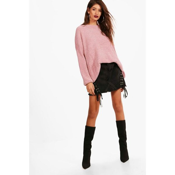 BOOHOO Aimee Oversized Chenille Tunic Jumper - Nail new season knitwear in the jumpers and cardigans that...