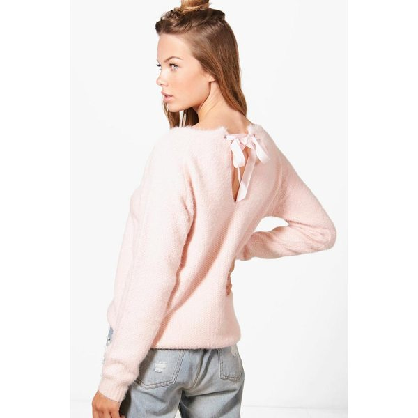 BOOHOO Aimee Ribbon Lace Up Back Soft Knit Jumper - Nail new season knitwear in the jumpers and cardigans that...