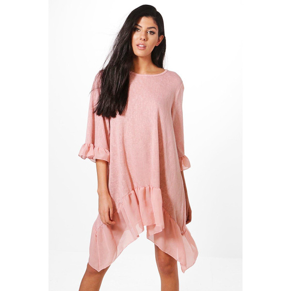 BOOHOO Aimee Ruffle Hem Dress - Nail new season knitwear in the jumpers and cardigans that...