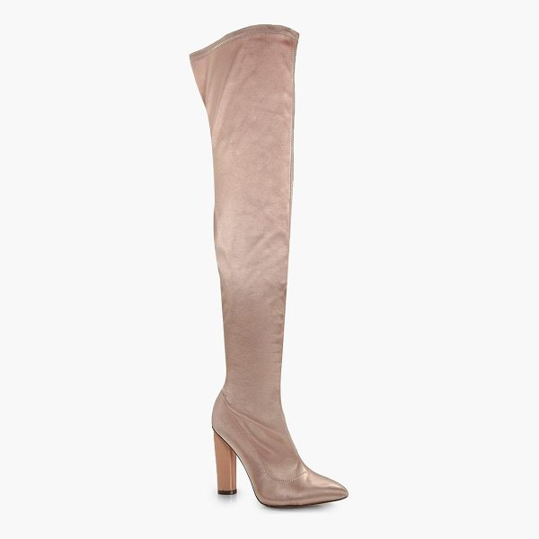 BOOHOO Aimee Satin Thigh High Boots - We'll make sure your shoes keep you one stylish step ahead...