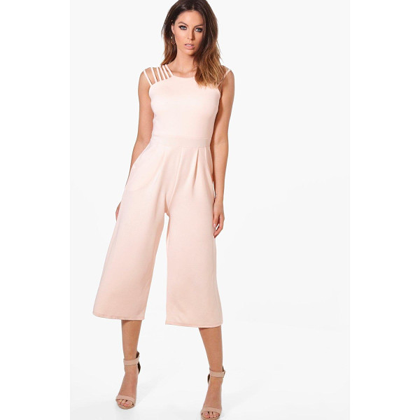 BOOHOO Alaia Strappy Detail Culotte One Piece - Alaia Strappy Detail Culotte Jumpsuit blush