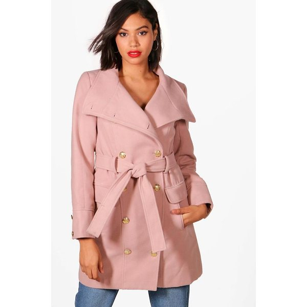 BOOHOO Alana Double Breasted Military Belted Coat - Wrap up in the latest coats and jackets and get out-there...