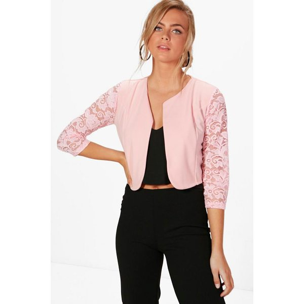 BOOHOO Alana Lace Sleeve Edge To Edge Jacket - Wrap up in the latest coats and jackets and get out-there...