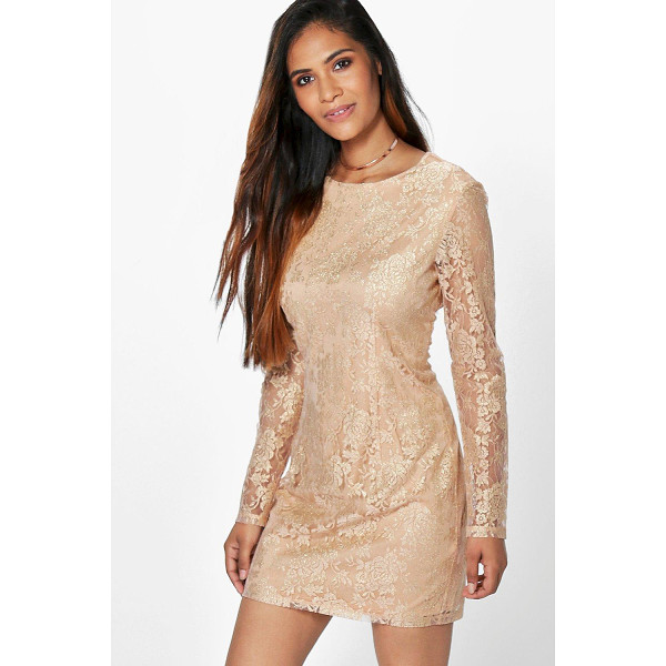 BOOHOO Aleesha Metallic Lace Bodycon Dress - Dresses are the most-wanted wardrobe item for day-to-night...
