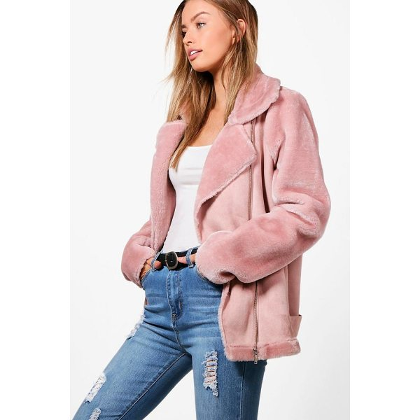 BOOHOO Alex Faux Fur Sleeve Aviator Jacket - Rock some seriously cool vibes on the day-to-day with a...