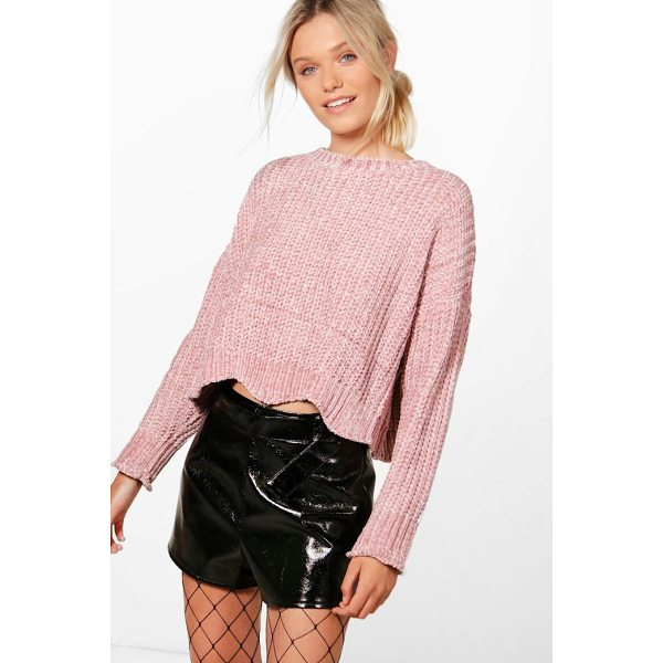 BOOHOO Alex Wavy Hem Cropped Chenille Jumper - Nail new season knitwear in the jumpers and cardigans that...