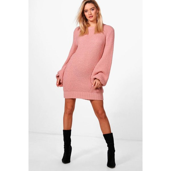 BOOHOO Alice Blouson Sleeve Soft Knit Jumper Dress - Nail new season knitwear in the jumpers and cardigans that...