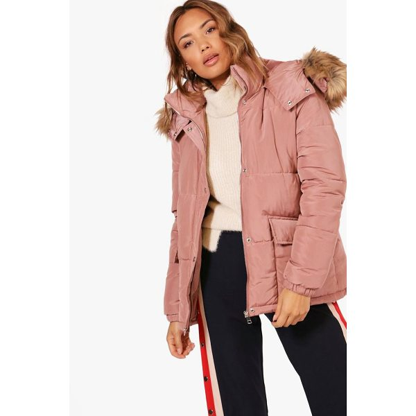 BOOHOO Alice Hooded Padded Coat With Faux Fur Trim - Wrap up in the latest coats and jackets and get out-there...