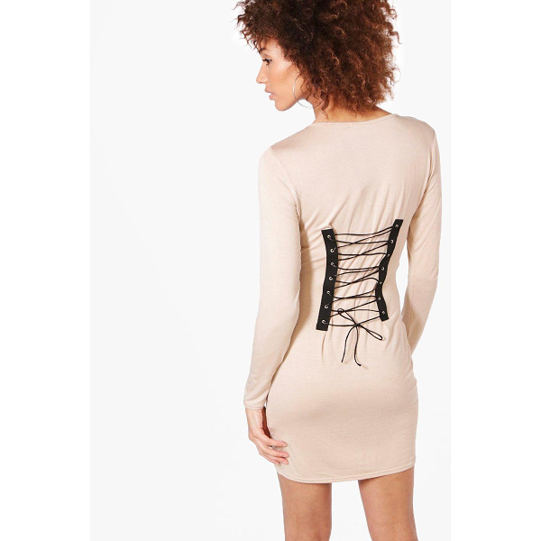 BOOHOO Alice Lace Up Back Bodycon Dress - Dresses are the most-wanted wardrobe item for day-to-night...