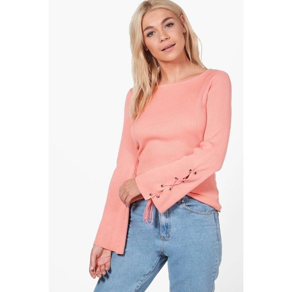 BOOHOO Alice Lace Up Sleeve Rib Knit Jumper - Nail new season knitwear in the jumpers and cardigans that...