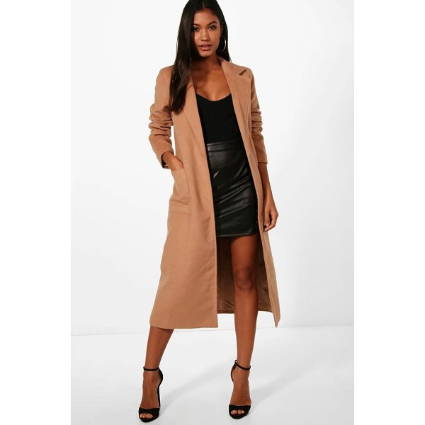 BOOHOO Alice Longline Button Wool Look Coat - Wrap up in the latest coats and jackets and get out-there...
