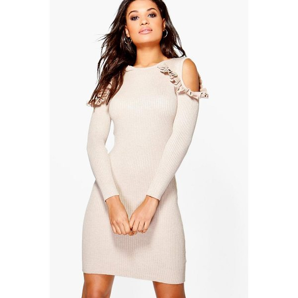 BOOHOO Alicia Ruffle Cold Shoulder Rib Knit Jumper Dress - Nail new season knitwear in the jumpers and cardigans that...