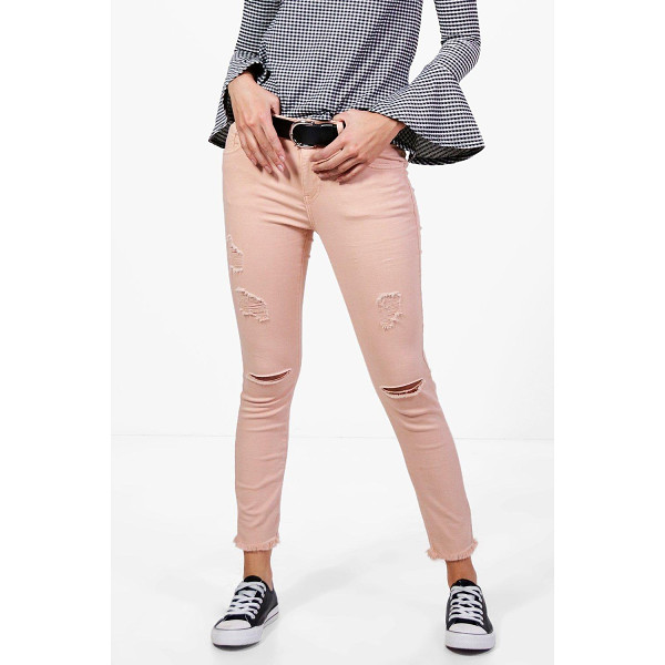 BOOHOO Alina 5 Pocket Mid Rise Rip Distressed Skinny Jeans - Jeans are the genius wear-with-anything wardrobe...