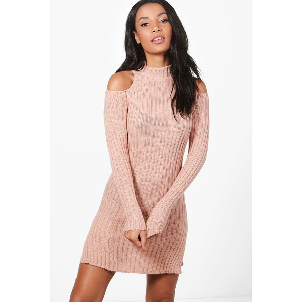 BOOHOO Alisha Cold Shoulder Rib High Neck Jumper Dress - Nail new season knitwear in the jumpers and cardigans that...