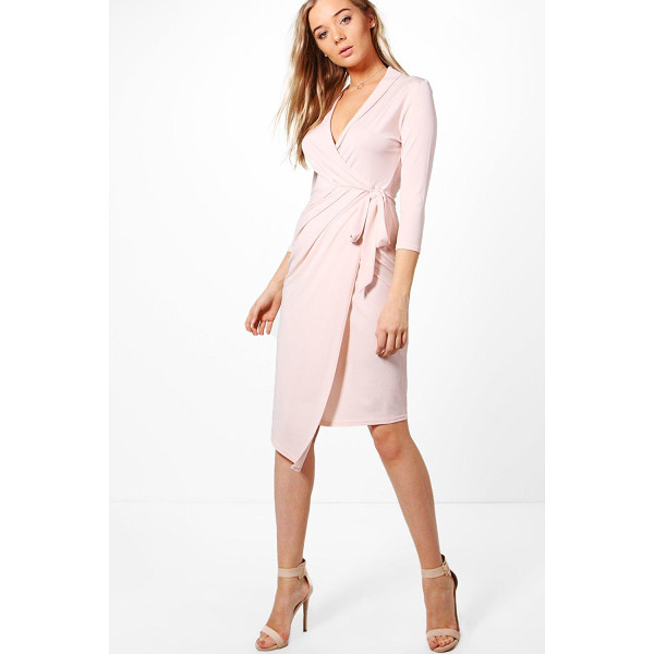 BOOHOO Alison Wrap Front 3/4 Sleeve Midi Dress - Dresses are the most-wanted wardrobe item for day-to-night...