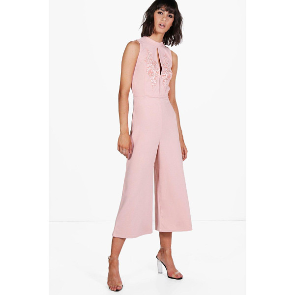 BOOHOO Alyson High Neck Applique Culotte One Piece - Alyson High Neck Applique Culotte Jumpsuit rose
