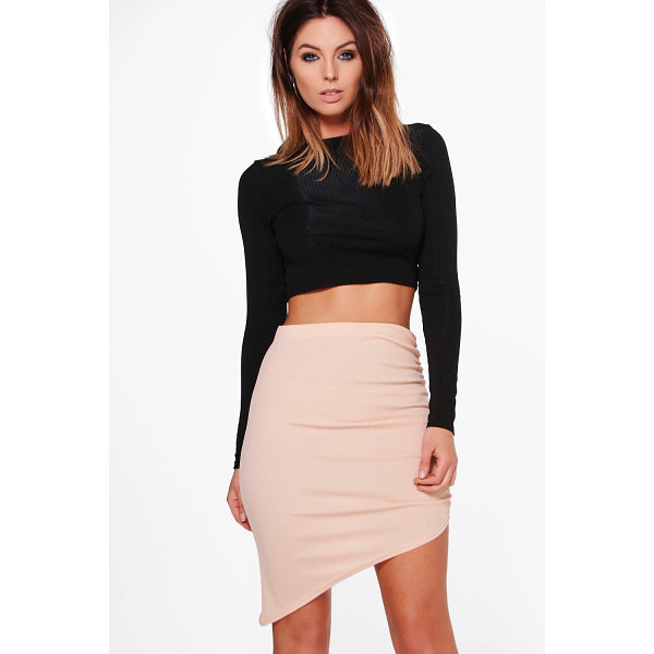BOOHOO Alyssa Ribbed Asymetric Midi Skirt - Skirts are the statement separate in every wardrobe This...