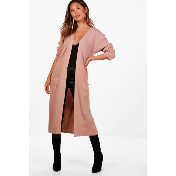BOOHOO Amanda Half Rib Sleeve Maxi Cardigan - Nail new season knitwear in the jumpers and cardigans that...