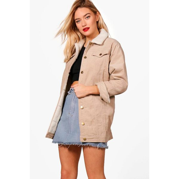 BOOHOO Amelia Borg Long Line Cord Jacket - Wrap up in the latest coats and jackets and get out-there...