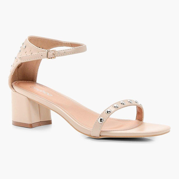 BOOHOO Amelia Studded 2 Part Low Heel Sandals - We'll make sure your shoes keep you one stylish step ahead...