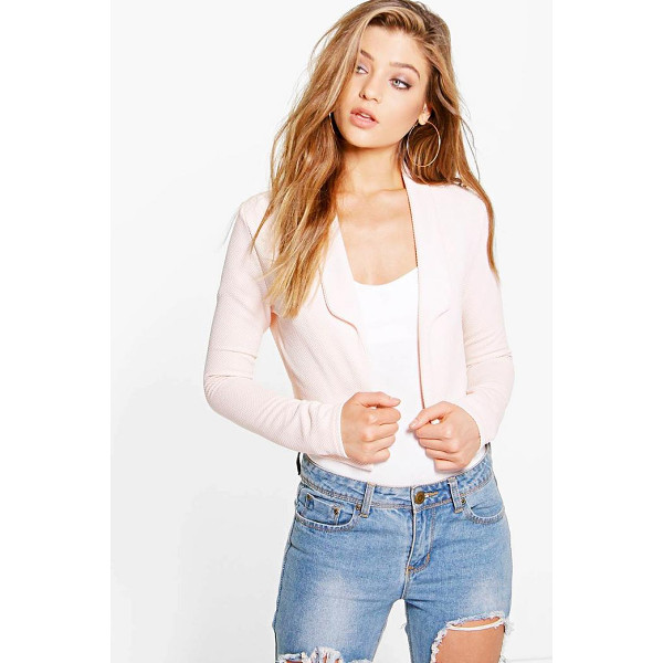 BOOHOO Amelie Collared Crop Textured Blazer - Blazers are your boardroom-to-bar essentialTailored is...