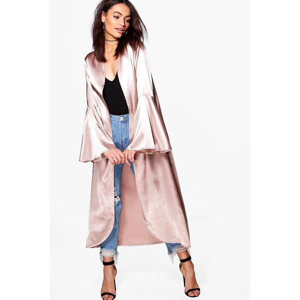 BOOHOO Amelie Flare Sleeve Satin Duster - Wrap up in the latest coats and jackets and get out-there...