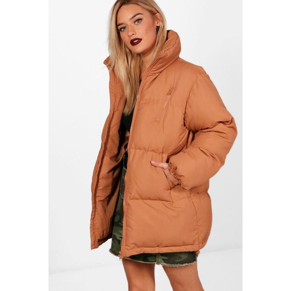 BOOHOO Amelie Funnel Neck Padded Coat - Wrap up in the latest coats and jackets and get out-there...