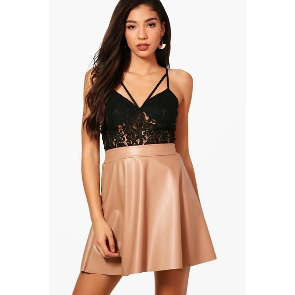 BOOHOO Amelie Leather Look Skater Mini Skirt - Skirts are the statement separate in every wardrobe This...