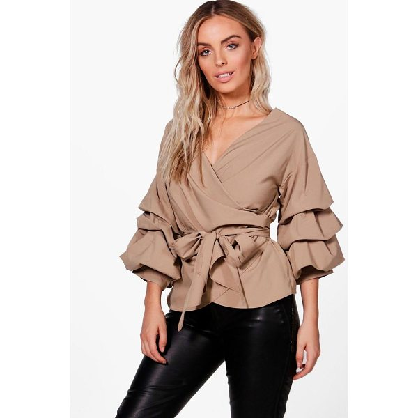 BOOHOO Amelie Ruffle Tiered Sleeve Wrap Top - From day-to-night, season-to-season the shirt is the...