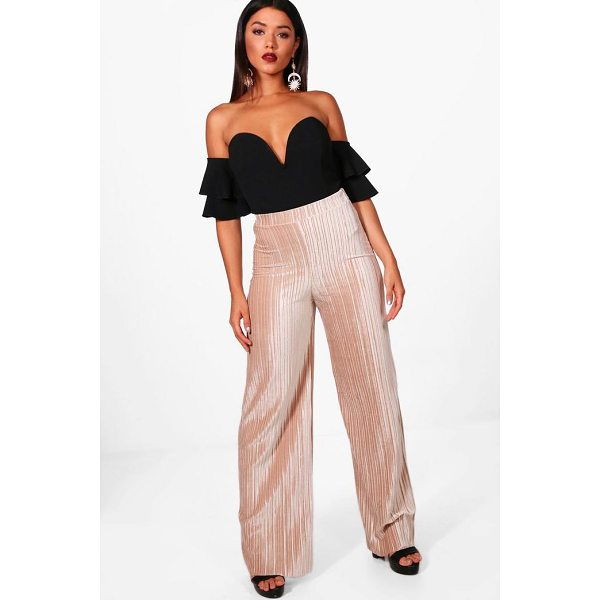 BOOHOO Amie Pleated Velvet Wide Leg Culottes - Trousers are a more sophisticated alternative to...